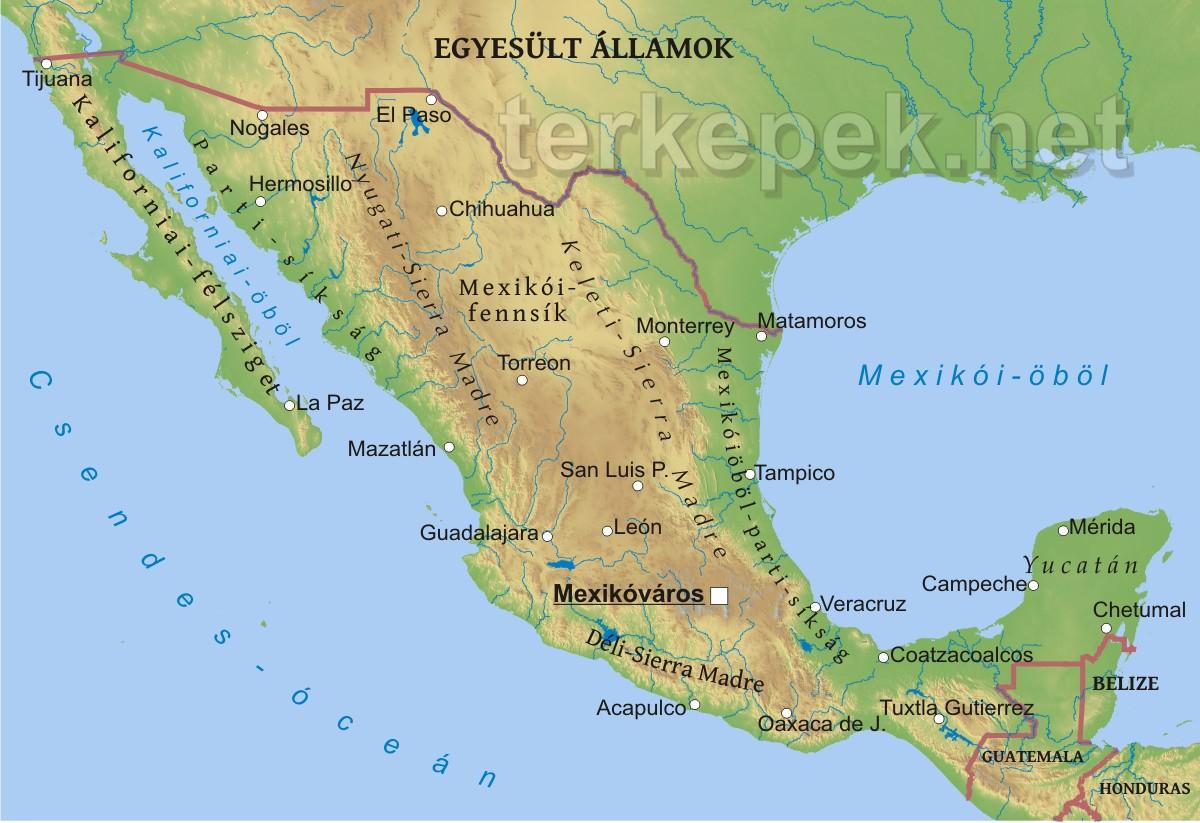 kalifornia térkép Mexikó domborzati térképe kalifornia térkép
